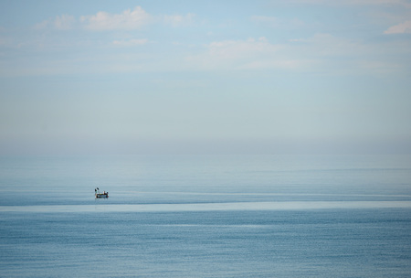 english channel: Inshore fishing boat in English Channel
