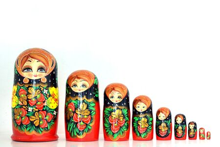 babushka: Set of 9 russian dolls lined up