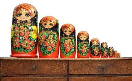 in lined: Set of 9 russian dolls lined up