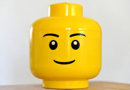 A boy lego head, close up a Stock Photo
