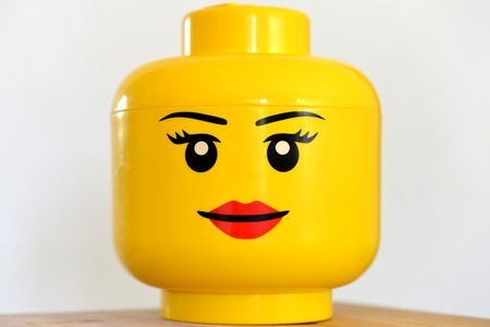 A girl lego heads, close up a