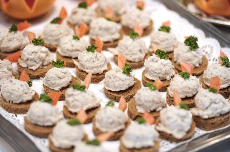 blini: Crab blini hors doeuvre platter