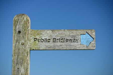 south downs: wooden public bridleway sign in South Downs National Park Stock Photo