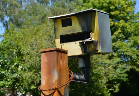 bombed: Vandalised speed camera, damaged by being fire bombed Stock Photo