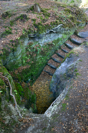 Stone steps to an old sandstone tunnel