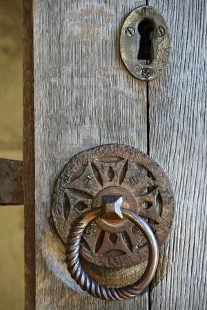 old furniture: Old iron door furniture on oak doors