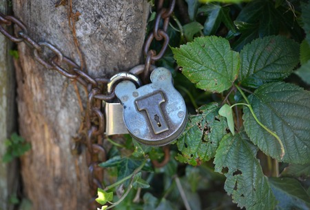 Old rural padlock around an old fence post Stock Photo