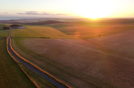 sussex: Sunset over the South Downs National Park, Sussex. UK Stock Photo