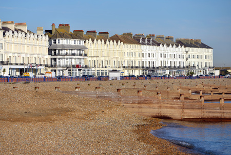 seafronts: Eastbourne seafront houses overlooking the beach and sea.