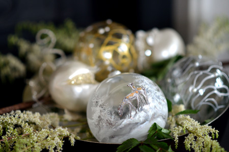 chandelier: Traditional luxury christmas glass baubles with ribbons