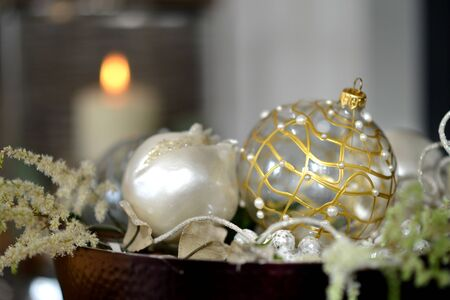 Traditional luxury christmas glass baubles with ribbons