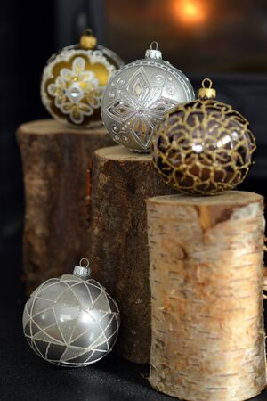 yule log: Traditional decorative glass Christmas baubles not on a tree