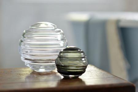 Round Decorative Glass Storage Jars In A Bathroom Stock Photo Unique Decorative Glass Storage Jars