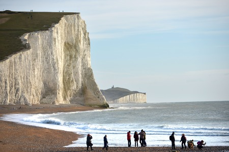 Seven sisters chalk cliffs during winter sun