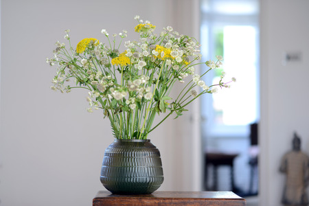 Flowers Displayed In A Glass Vase In A Bedroom Stock Photo Picture