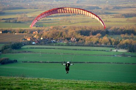 Paragliders taking off from the South Downs