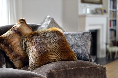 homeware: Faux fur throws and cushions room interior