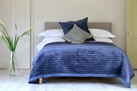 Blue textured bedding quilted material / throw / quilt