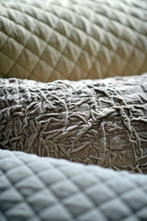 quilted: Details on textured and quilted sofa cushions Stock Photo
