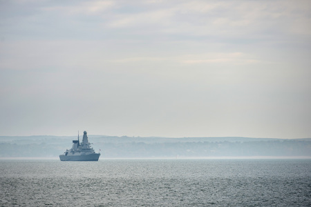 Royal navy destroyer in the Solent near Portsmouth, UK