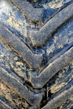 Close up of a tractor tyre tread
