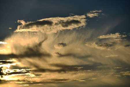Unusual cloud patterns and shadows in the evening sky