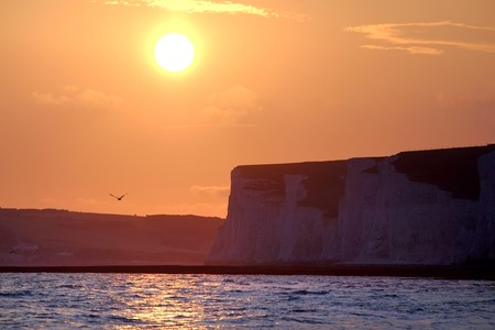 Sunset at the East Sussex coast at Birling Gap Stock Photo