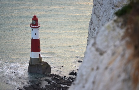 Beachy Head lighthouse and chalk cliffs, East Sussex Stock Photo