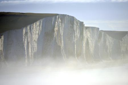Seven Sisters chalk cliffs near Seaford in sea mist Stok Fotoğraf