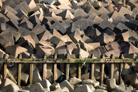 Concrete sea defenses, tetrapods, in Seaford, East Sussex
