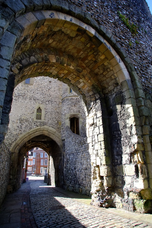 Arched gateway to Lewes Castle Barbican, East Sussex Editorial