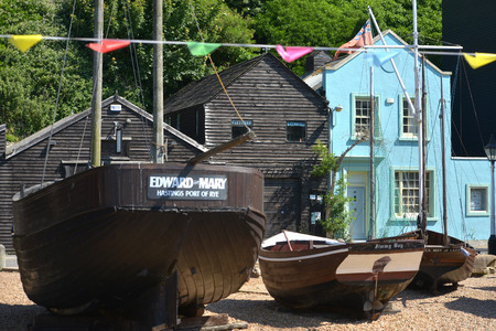 Old fishing boats in Hastings Old Town. Editorial