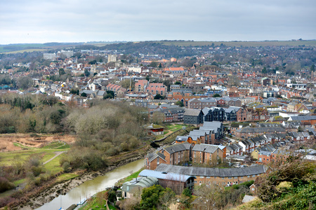 Landscape of Lewes, county town of East Sussex, UK Stock Photo