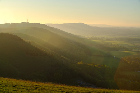 South Downs way near Devils Dyke, Brighton, Sussex, UK at sundown. Stock Photo - 119354791