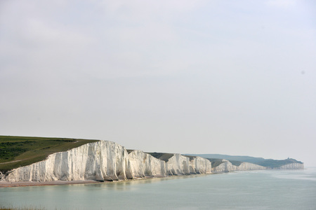View of the chalk cliffs in East Sussex near Eastbourne