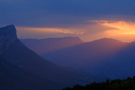 Misty mountain ridge in the Spanish Pyrenees, Catalonia