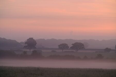 Misty sunrise over the English countryside, East Sussex