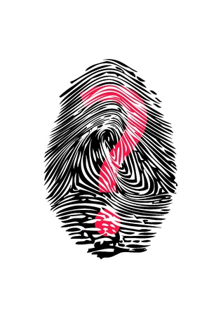 Fingerprint with question Stock Photo