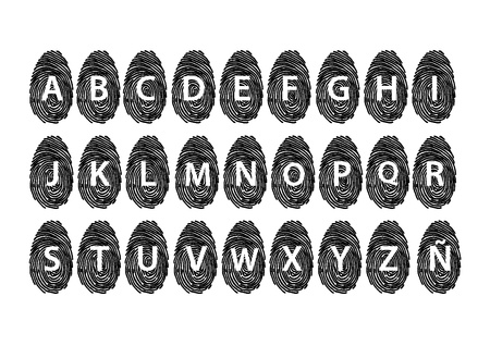Fingerprint alphabet black Vector