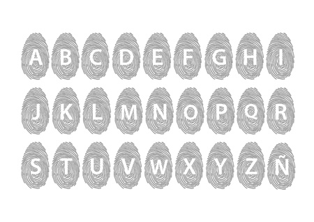 Fingerprint alphabet grey