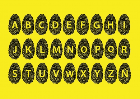 Fingerprint alphabet yellow