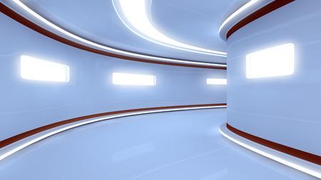Futuristic illuminated long corridor Stock Photo