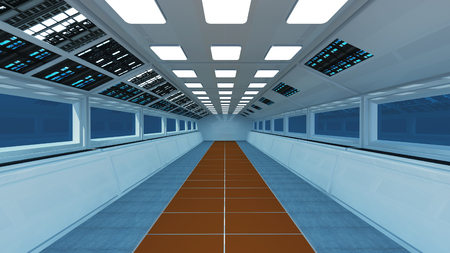 Spaceship interior, center view with floor
