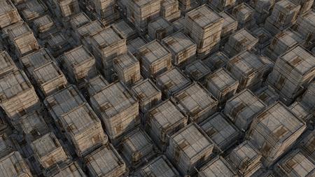 Futuristic sci-fi city street view, 3d digitally