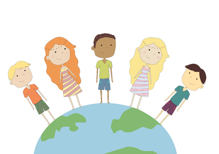 Design of children on the planet Stock Photo