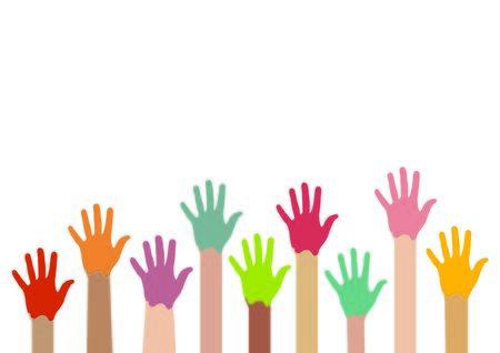 Children colored hands Stock Photo