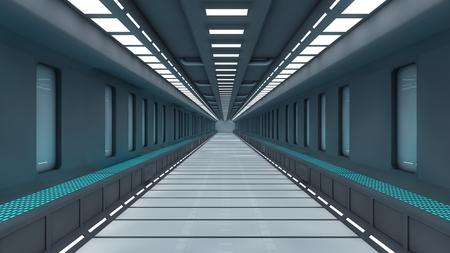 Futuristic SCIFI corridor Stock Photo
