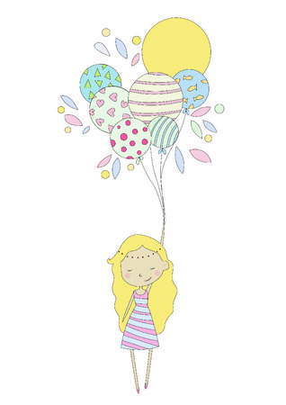 Drawing girl with balloons