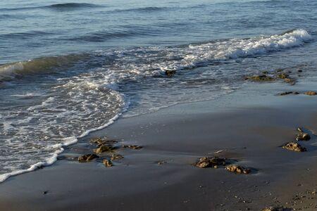 Sand beach and sunset Stock Photo