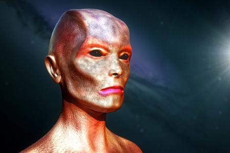 Realistic Alien. 3D digital illustration.